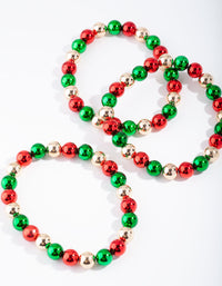 Multi Christmas Bauble Stretch Bracelet Pack - link has visual effect only