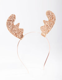Rose Gold Glitter Reindeer Headband - link has visual effect only