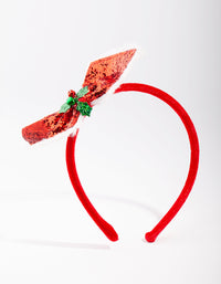 Red Glitter Holly Bow Headband - link has visual effect only