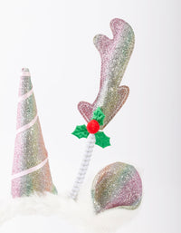 White Christmas Unicorn Reindeer Headband - link has visual effect only