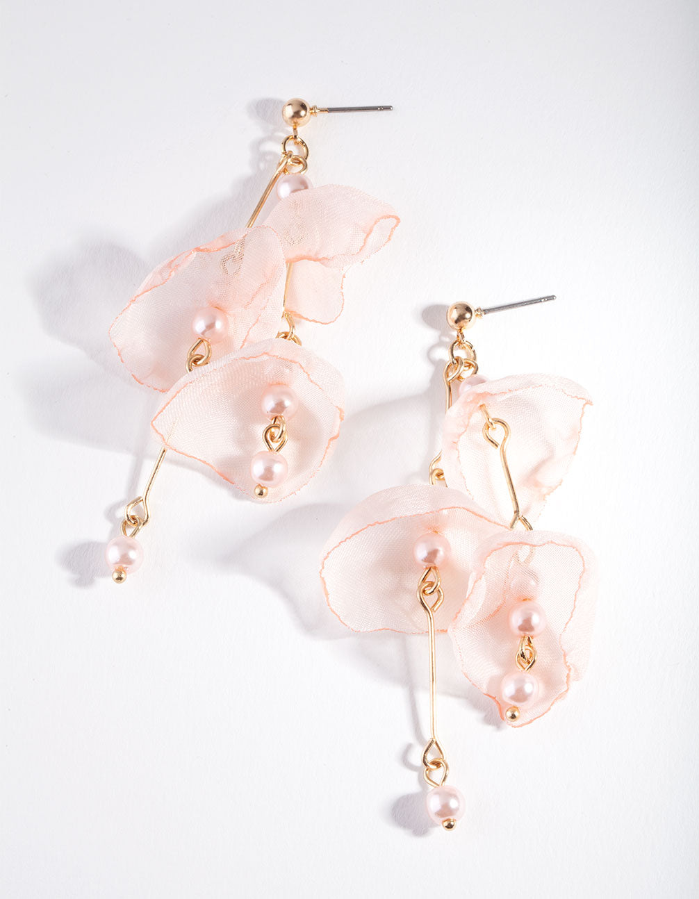 Rose Gold Pink Fabric Flower Earring