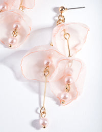 Rose Gold Pink Fabric Flower Earring - link has visual effect only