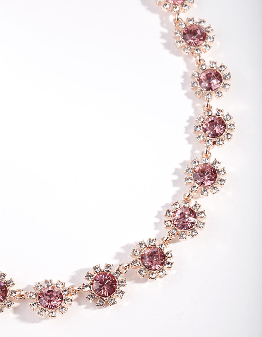 Rose Gold Diamante Gem Flower Chain Necklace