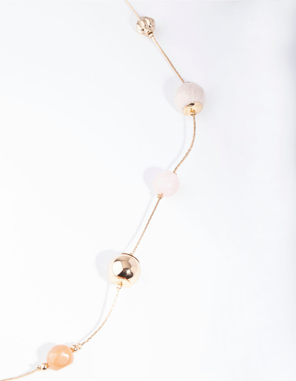Gold Multi Coloured Pastel Acrylic Pearl Necklace