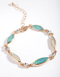 Gold Diamante and Blue Stone Bracelet - link has visual effect only