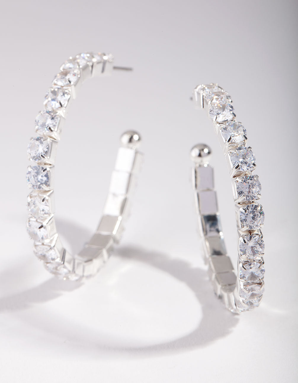 Rhodium Cubic Zirconia Medium Hoop Earring