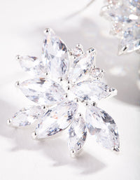 Silver Cubic Zirconia Navette Stud Earring - link has visual effect only