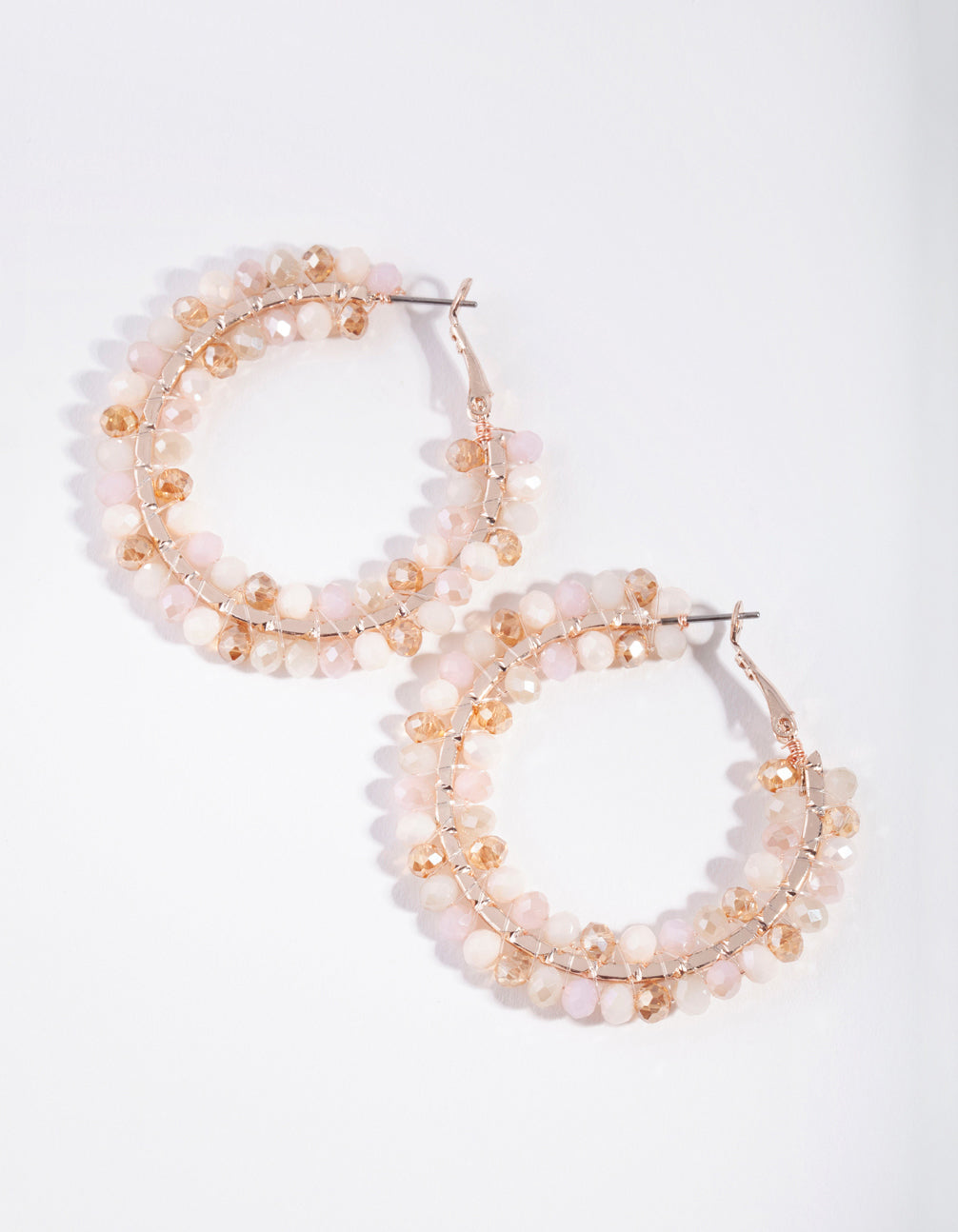 Rose Gold Pink Facet Bead Hoop Earring