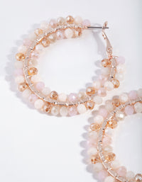 Rose Gold Pink Facet Bead Hoop Earring - link has visual effect only