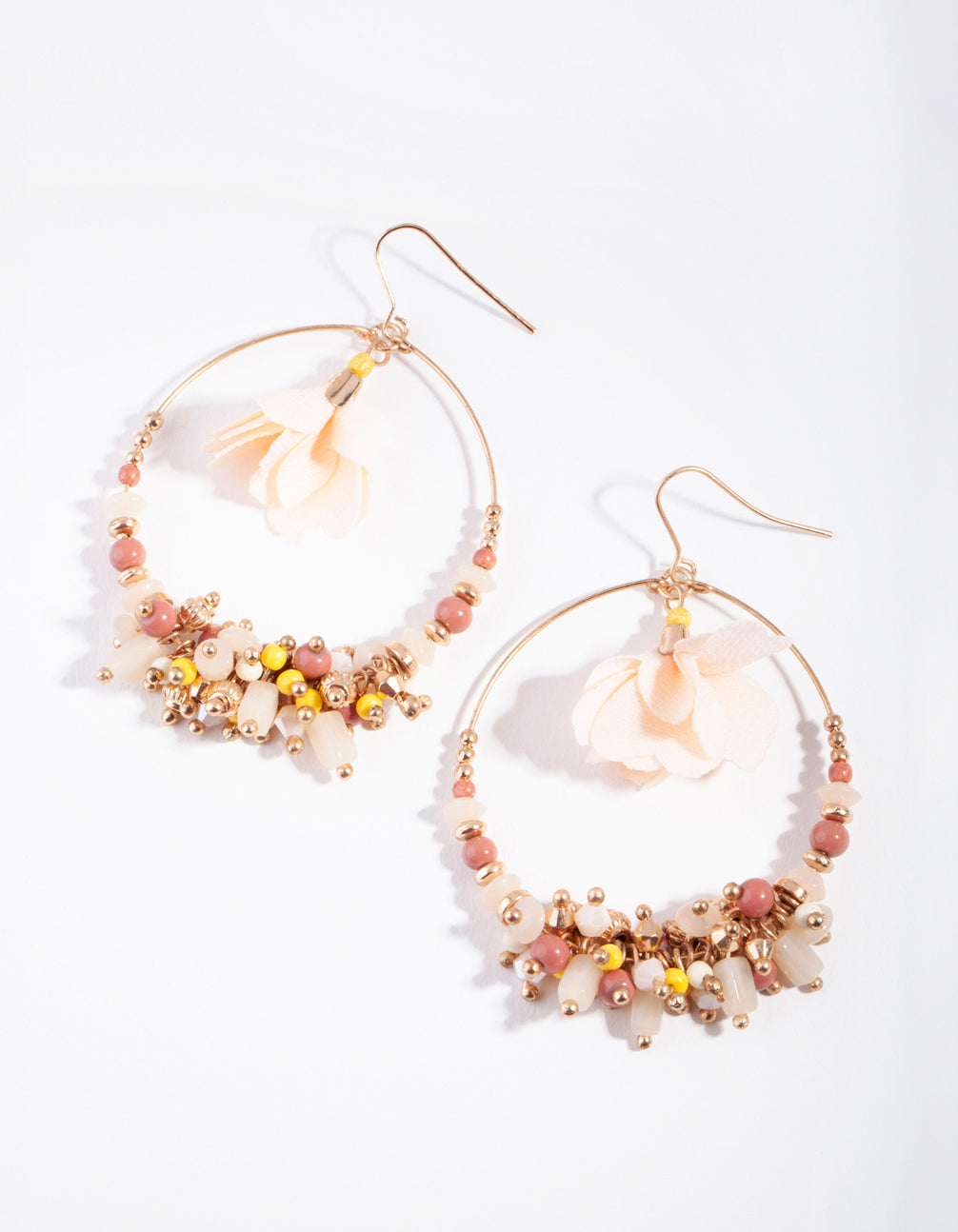 Gold Flower Centre Disc Earrings