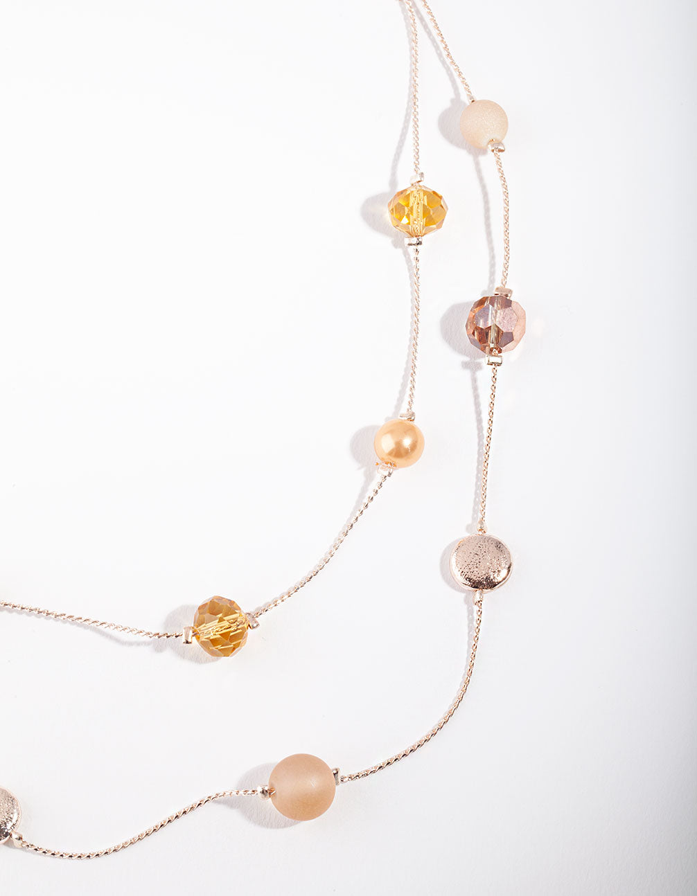 Gold Peach Facet Bead and Frost Stone Necklace