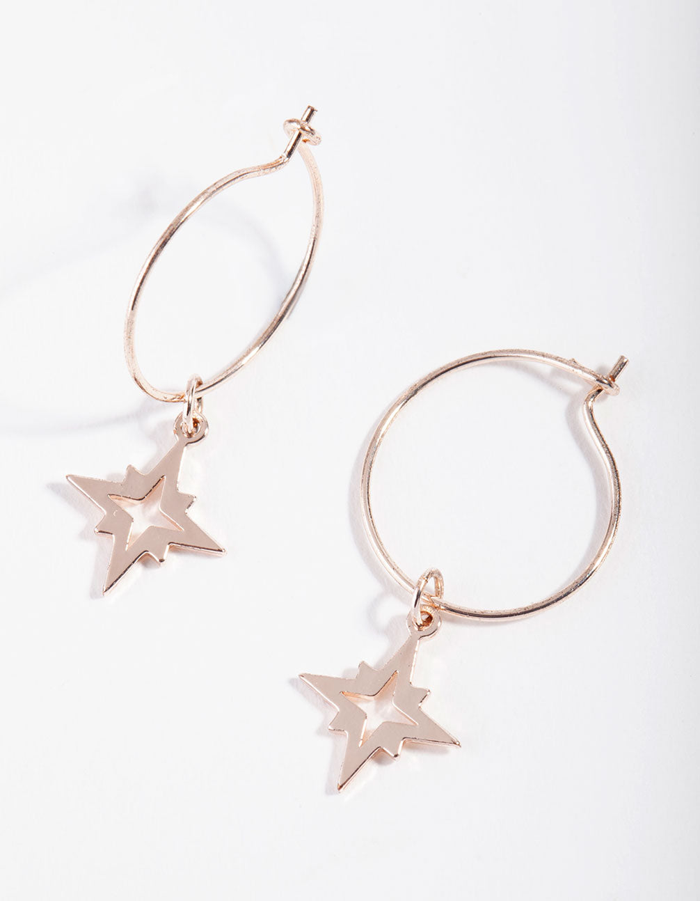 Rose Gold Fine Star Charm Hoop Earrings