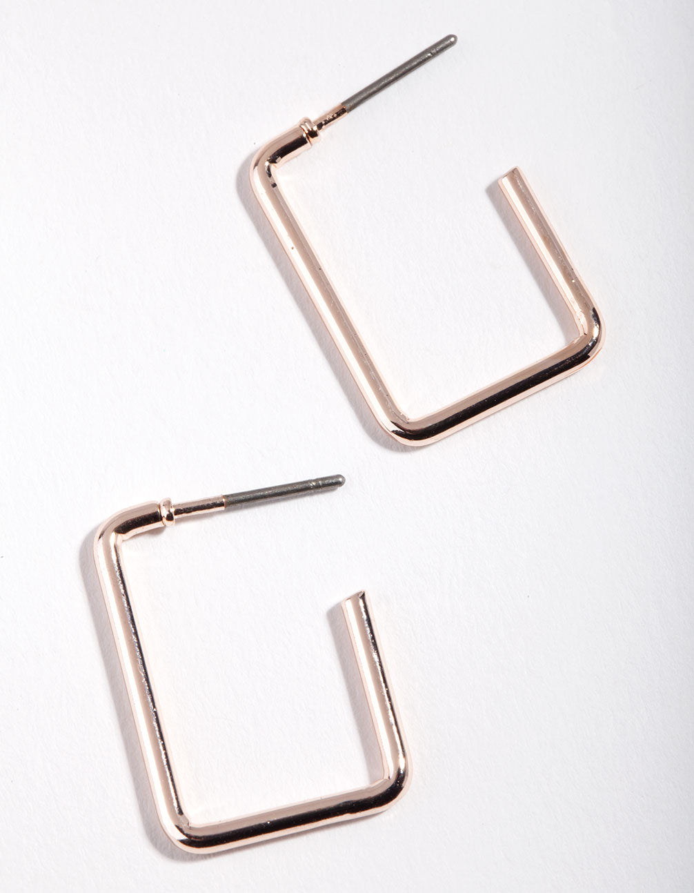 Rose Gold Rectangle Hoop Earrings