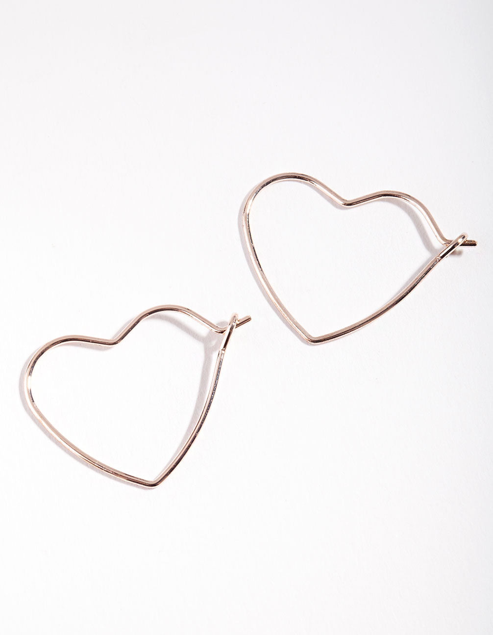 Rose Gold Heart Hoop Earrings