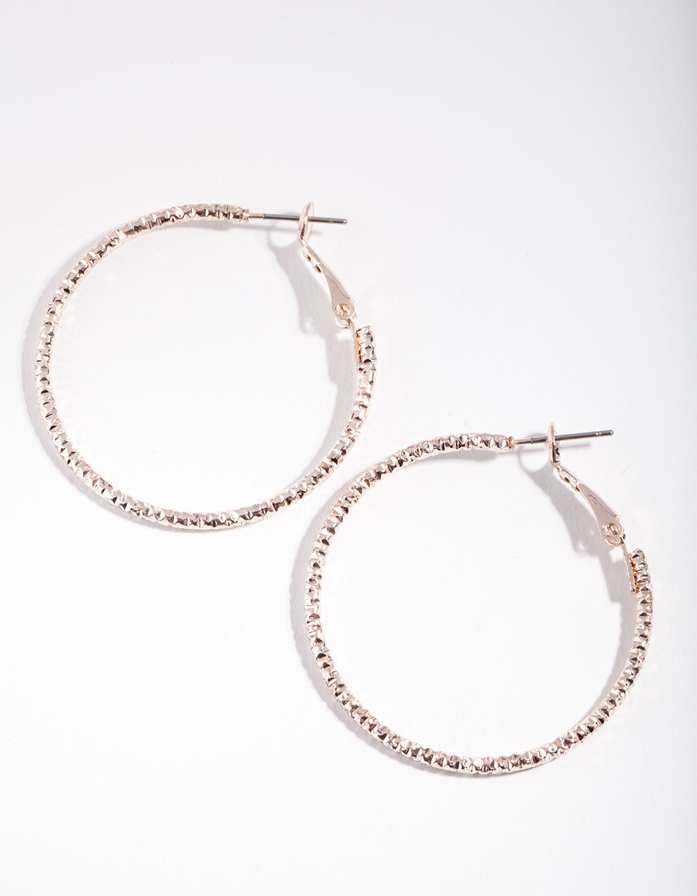 Rose Gold Textured Hoop Earrings