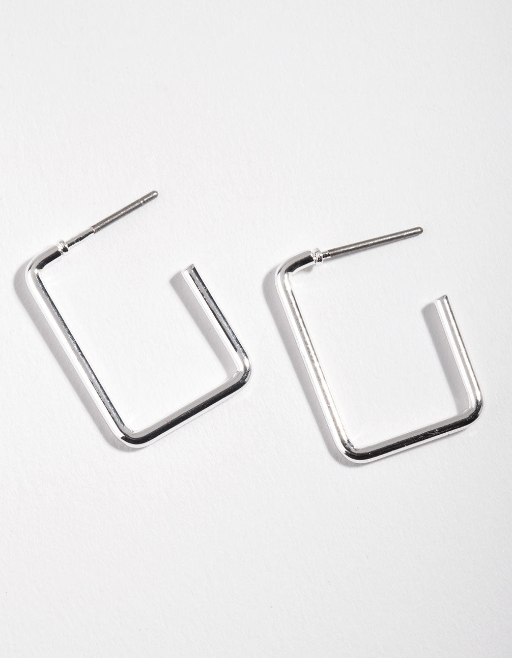 Silver Rectangle Hoop Earrings