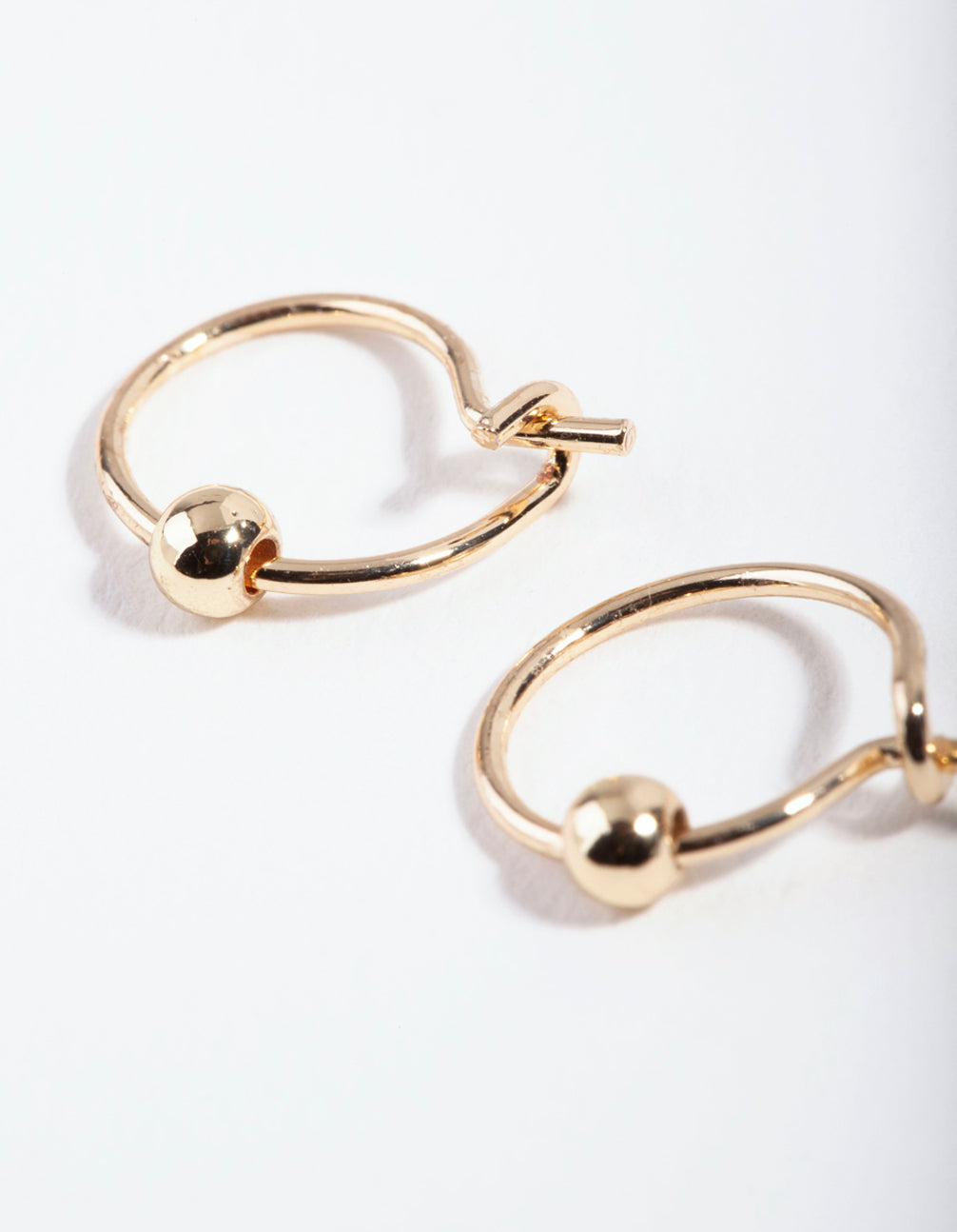 Gold Mini Ball Hoop Earring