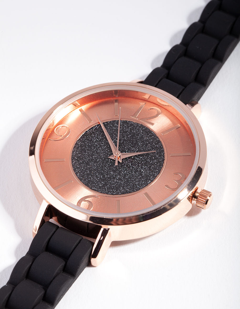 Rose Gold Glitter Face Silicone Watch