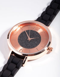Rose Gold Glitter Face Silicone Watch - link has visual effect only