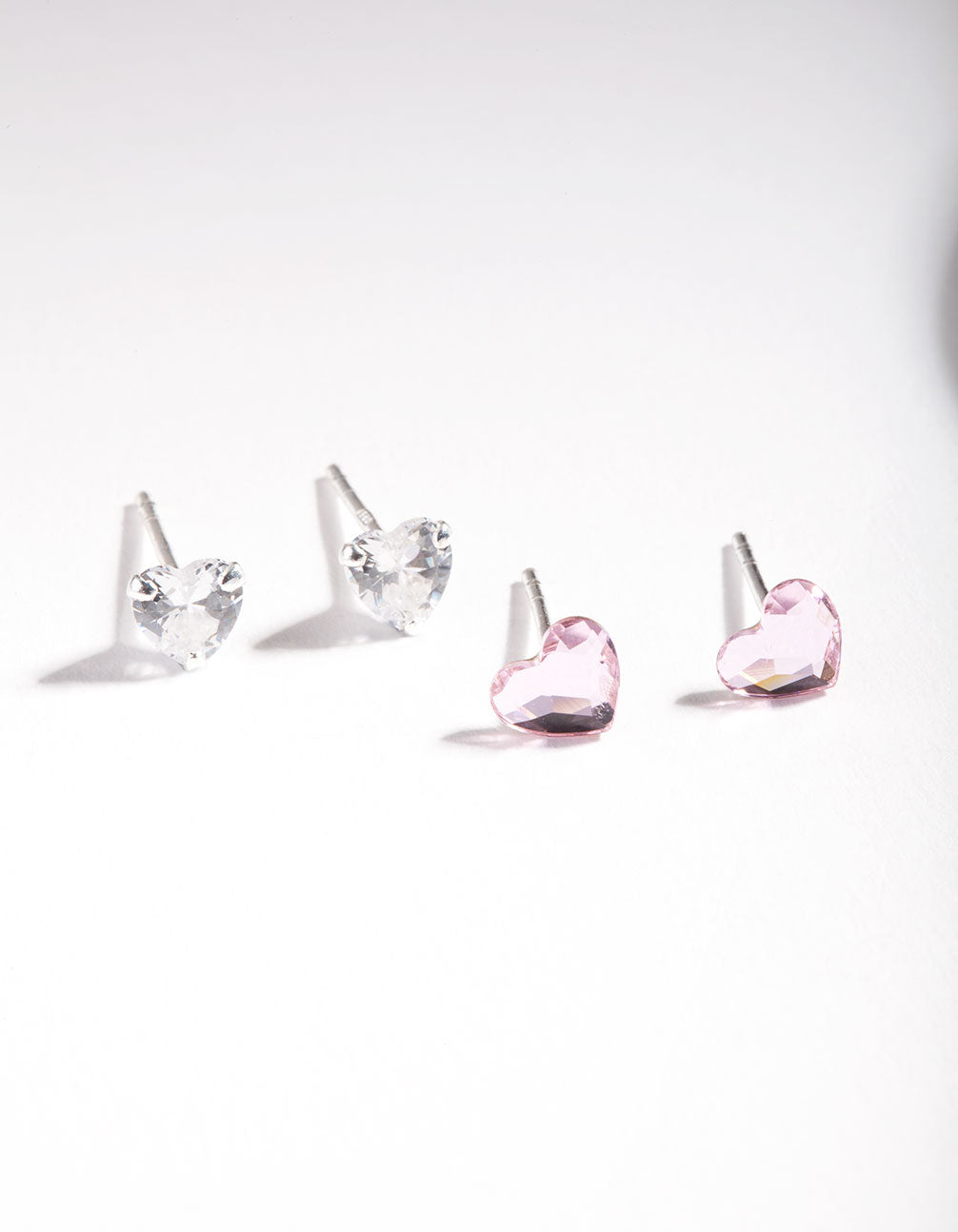 Sterling Silver Swarovski and Cubic Zirconia Heart Stud Earring 2 Pack