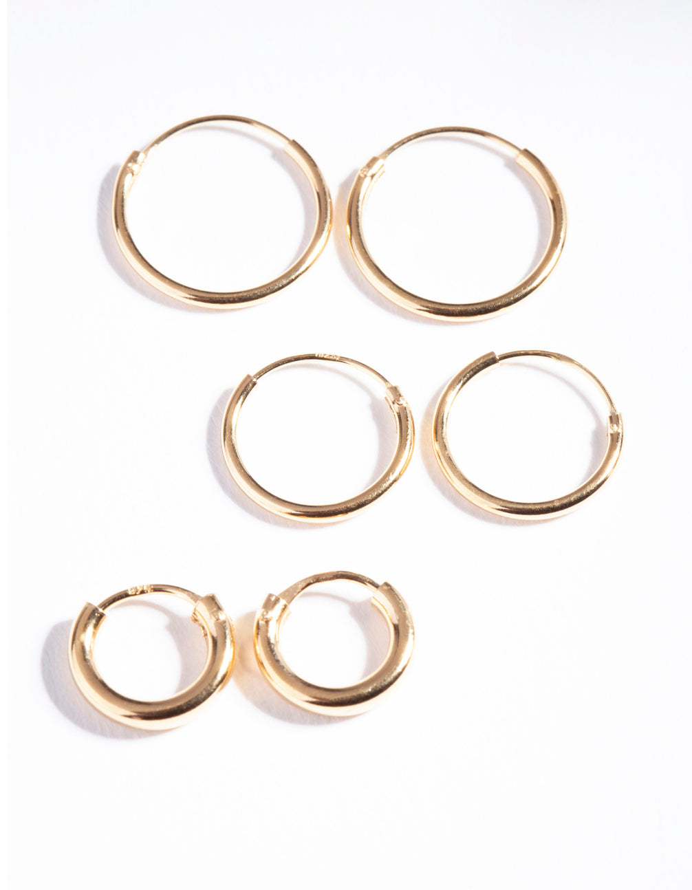 Gold Plated Sterling Silver Mix Thick Hoop Earring 3 Pack