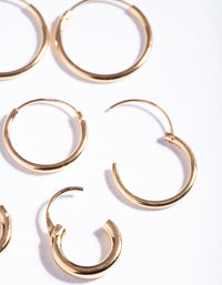 Gold Plated Sterling Silver Mix Thick Hoop Earring 3 Pack - link has visual effect only