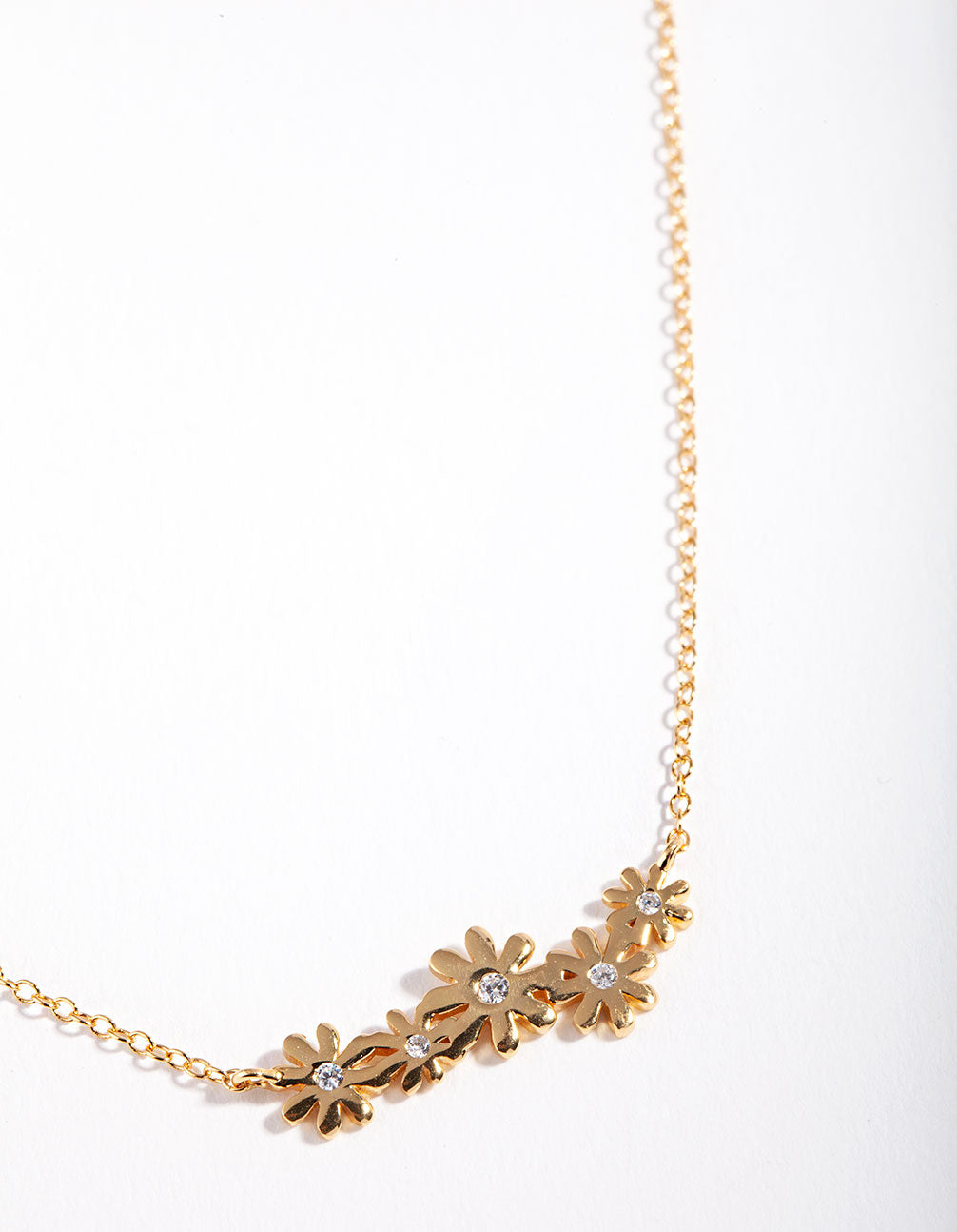 Gold Plated Sterling Silver Diamante Daisy Necklace