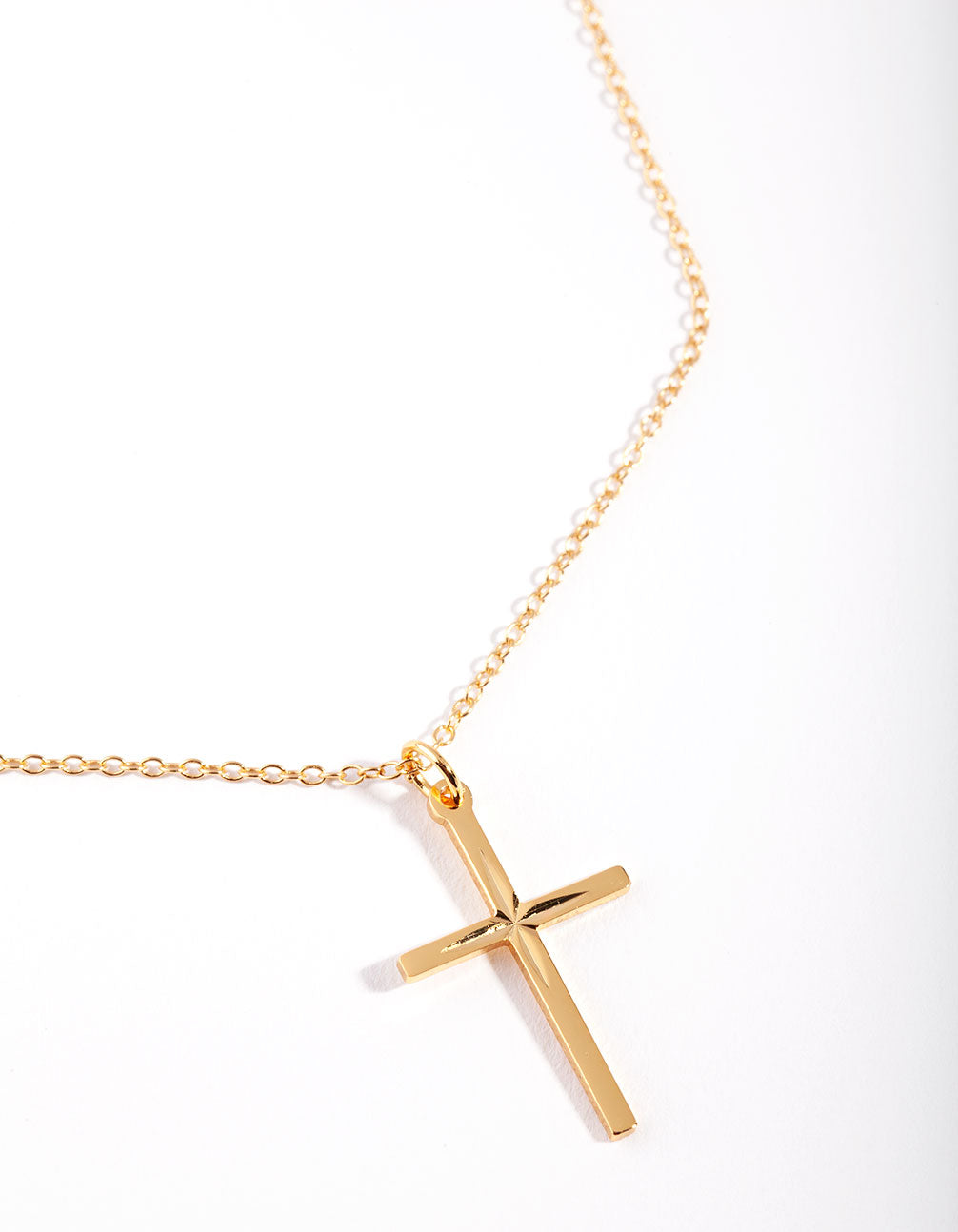 Sterling Silver Gold Diamante Cross Necklace