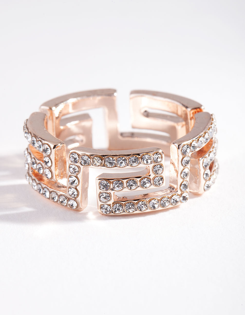 Rose Gold Diamante Maze Cut Out Ring