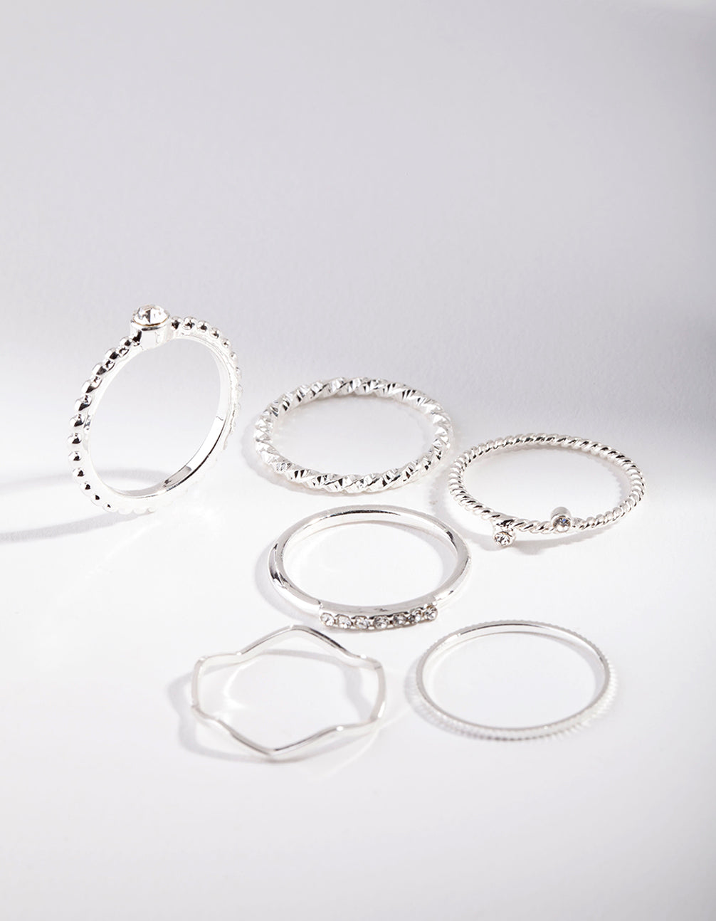 Silver Diamante Mixed Band Ring 6 Pack