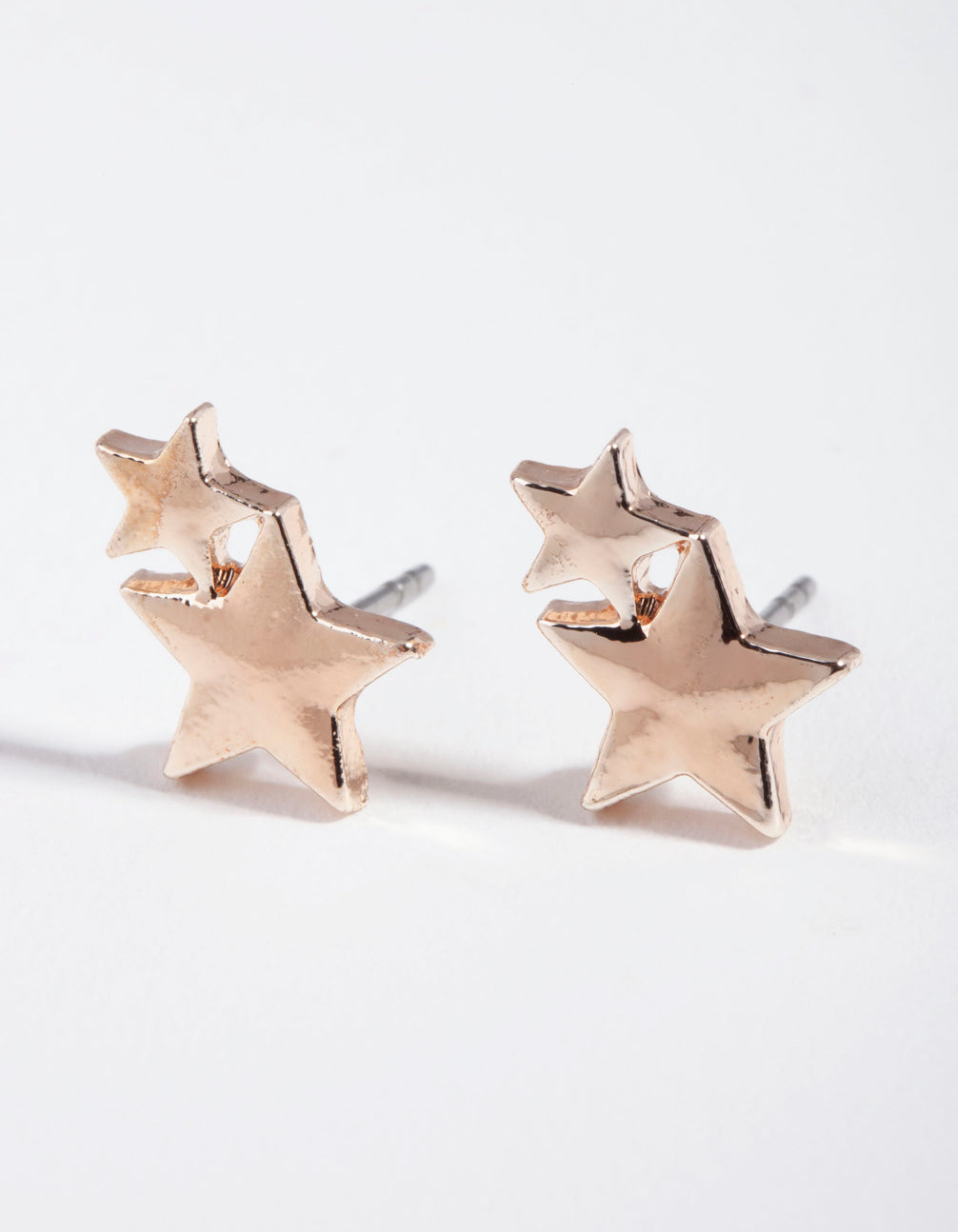 Kids Rose Gold Double Star Stud Earring