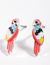 Kids Orange Silver Parrot Earrings - link has visual effect only