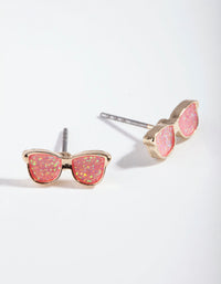 Kids Gold Peach Glasses Earrings - link has visual effect only