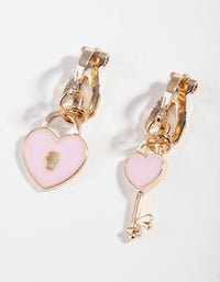 Kids Gold Heart & Lock Clip-On Earring - link has visual effect only