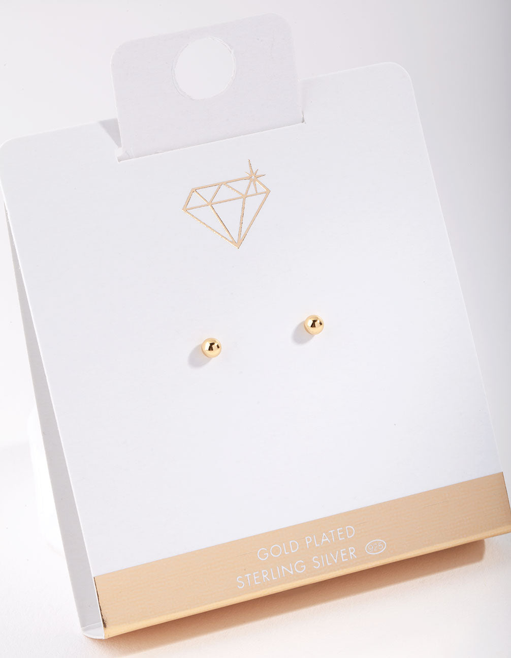 Gold Plated Sterling Silver 3mm Ball Stud Earring