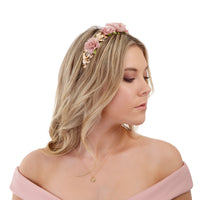 Mix Pink Rose Leaf Headband - link has visual effect only