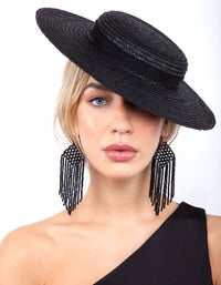 Black Straw Boater Hat Headband - link has visual effect only