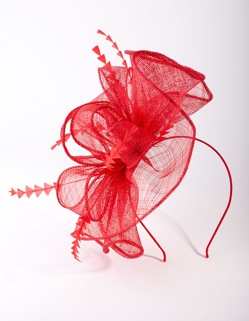Red Triangle Feather Fascinator