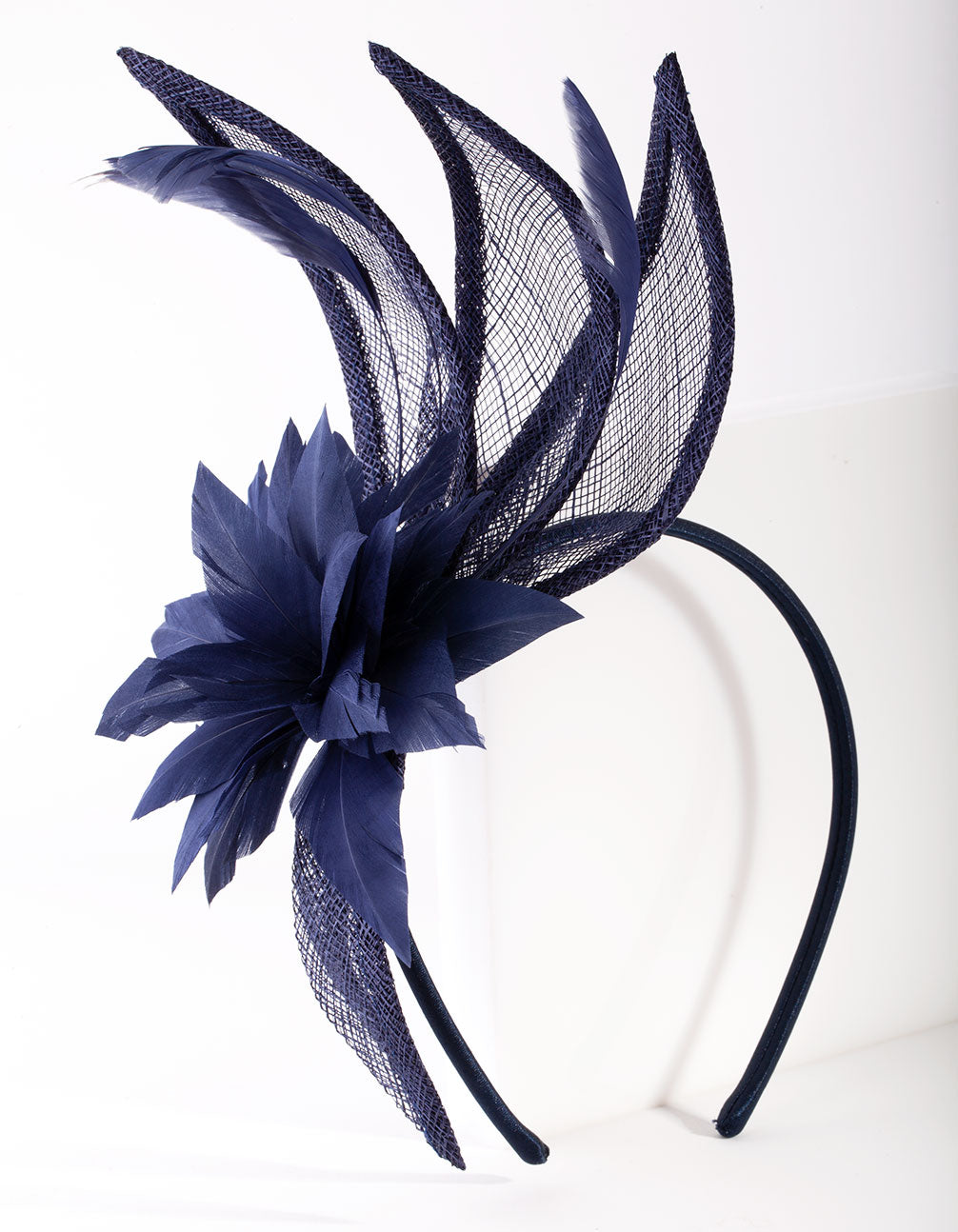 Navy Flower Swirl Headband