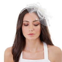 White Pearl Feather Mesh Headband - link has visual effect only