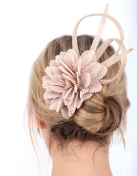 Taupe Crinkled Flower Clip - link has visual effect only