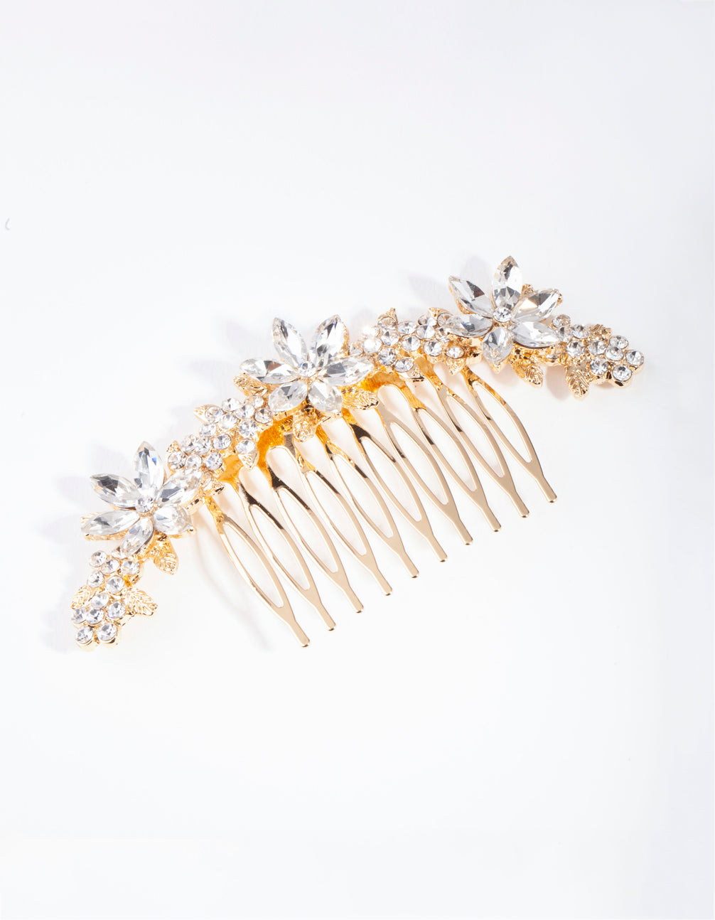 Gold Classic Diamante Flower Comb
