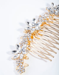 Gold Classic Diamante Flower Comb - link has visual effect only