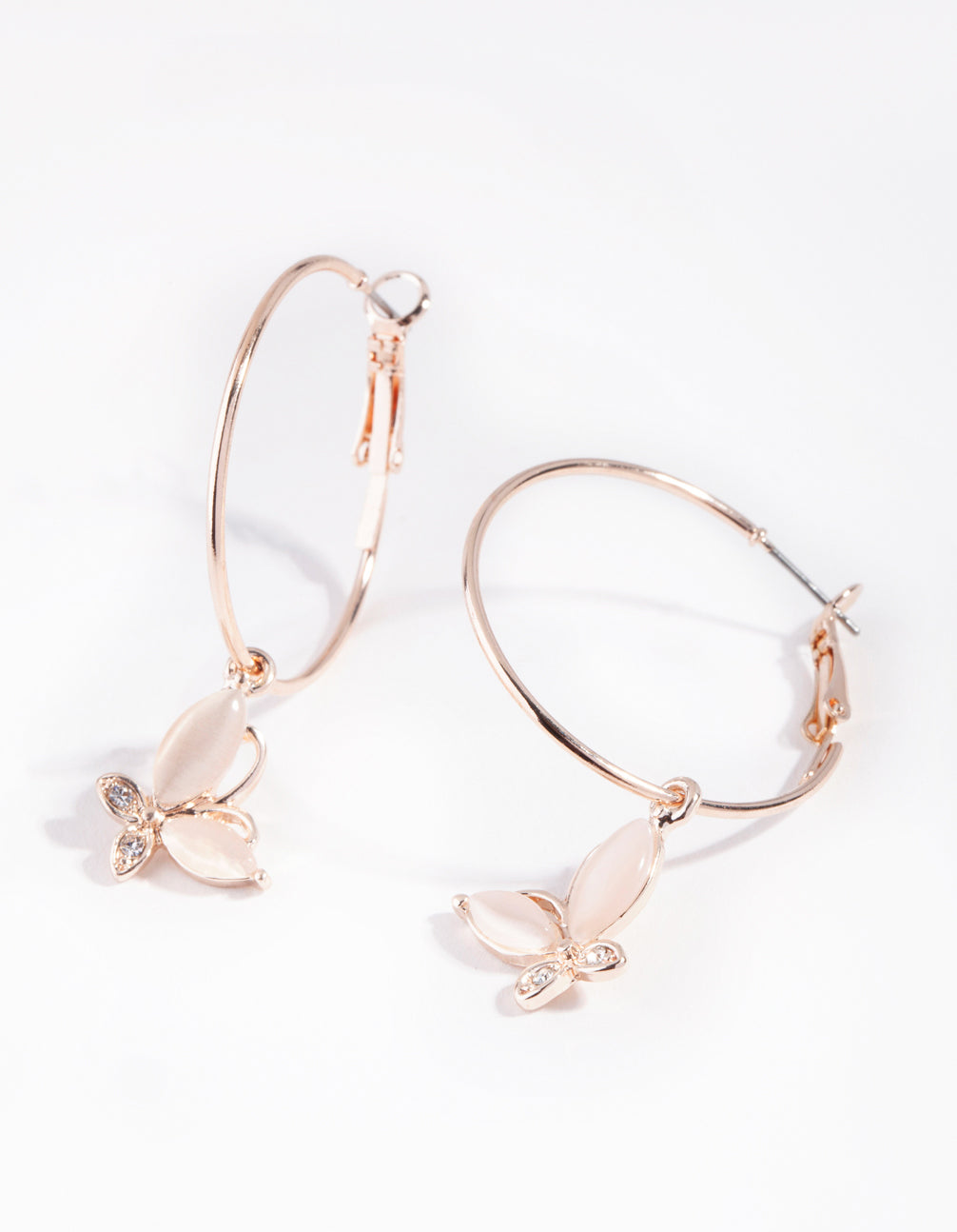 Rose Gold Butterfly Catseye Hoop Earring