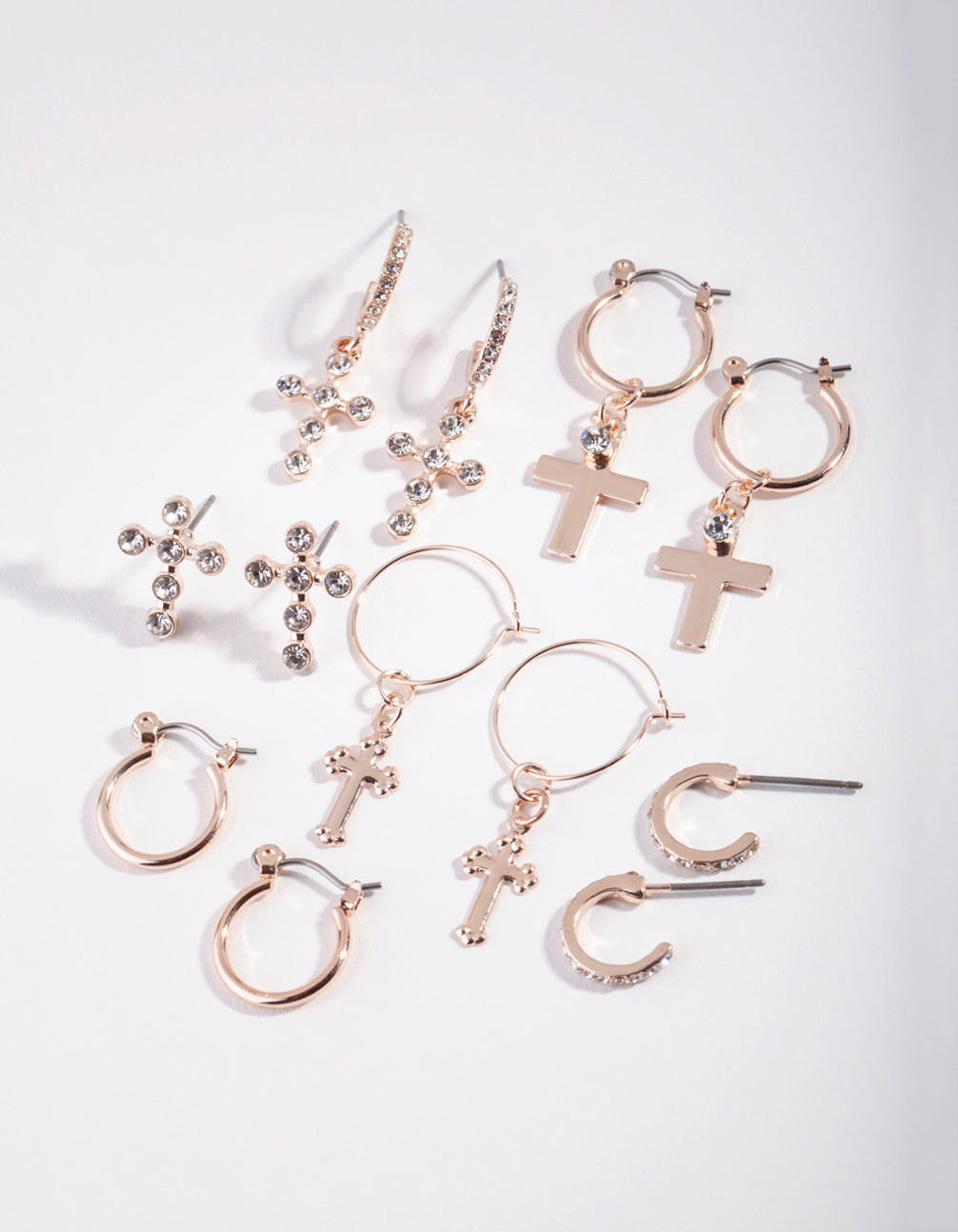 Rose Gold Cross and Diamante Earring 6 Pack