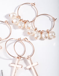 Rose Gold Pearl and Cross Earring 6 Pack - link has visual effect only