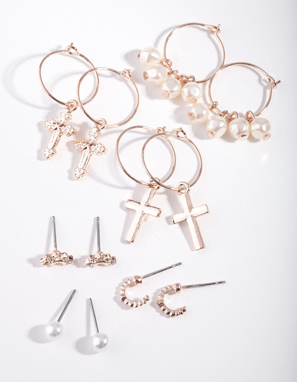 Rose Gold Pearl and Cross Earring 6 Pack