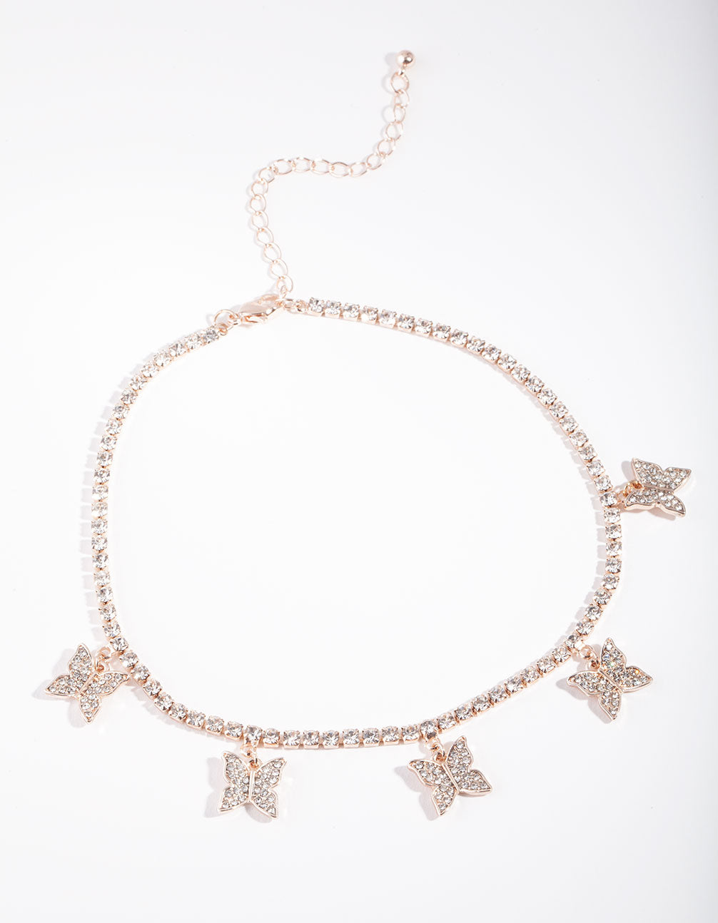 Rose Gold Butterfly Diamante Choker Necklace