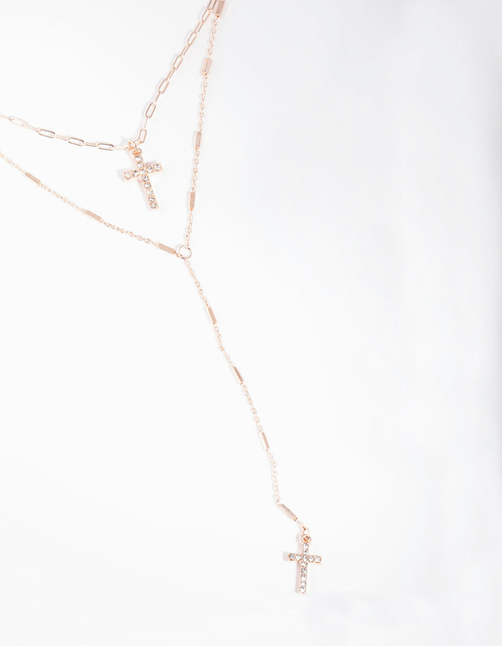 Rose Gold Cross Double Row Necklace