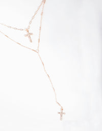 Rose Gold Cross Double Row Necklace - link has visual effect only